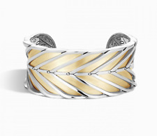John Hardy 18K Gold Sterling Silver Cuff Modern Chain Bracelet NEW $3,200