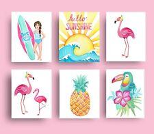 surf girl beach theme nursery wall art decor prints bedroom bathroom