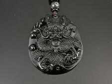 Natural Black Obsidian Dragon Pendant with Woven Necklace
