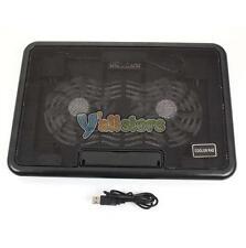 """USB LED 12-15"""" 2 Fan Laptop Notebook Cooling Cooler Adjustable Stand Pad Black"""
