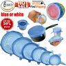 6PCS Stretch Reusable Silicone Wraps Food Saver Cover Seal LIDS SET New Hig
