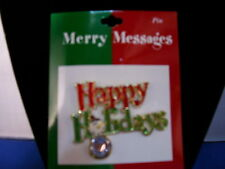 Christmas Pin Happy Holidays Enamel with Stone By Roman Inc 3