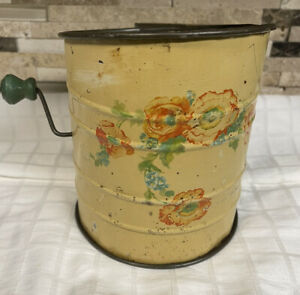 Antique Vintage Flour Sifter Yellow W/Fliwers-Wood Knob Rustic Decor