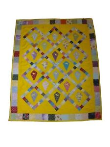"""Vintage Quilt kites Handmade Homemade Patchwork 48"""" x 38"""" Lap Quilt awesome cond"""