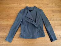 TAHARI Elie Tahari Womens sz S gray Lambskin leather Ruffle Jacket