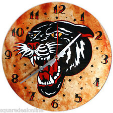 72013 Black Panther Sourpuss GLASS Wall Clock Traditional Sailor Tattoo Flash