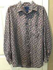 Cambridge Classics Men's Long Sleeve Shirt Small 100% Silk Geometric Designs