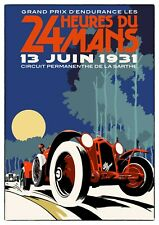 Reproduction Motor Racing Poster, Le Mans 24 Hour 1931, Wall Art, Size A2
