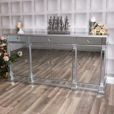 Large Mirrored Silver Sideboard Cupboard Cabinet Hallway Table Unit Glass Plinth