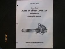 LOMBARD Model 5A Power Chain Saw Instruction & Parts Manual Original 1950s