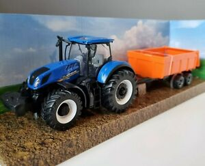 New Holland Tractor & Tipping Trailer Model Toy T7.315 Diecast Metal 1:50 Scale