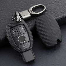 Black Carbon Fiber Silicone Smart Key Chain Cover Case Fob Fit For Mercedes-Benz