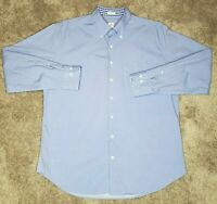 Peter Millar Weekender Wash Mens Large Blue Check Button Front Casual Shirt