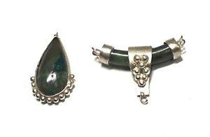 Pair of SILVER TONE Natural Green Stone Pendants - B23