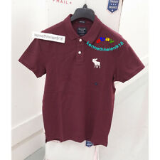 ABERCROMBIE & FITCH MENS SUPER SLIM EXPLODED ICON POLO SHIRTS BURGUNDY SIZE L
