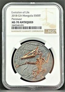 2018 Mongolia 500T Pterosaur Evolution of Life 1 oz Silver Coin NGC MS70