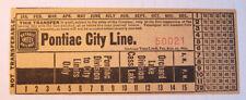 Vintage Detroit United Railway Pontiac City Line Streetcar & Trolley Transfer