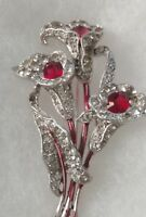 1940's Crown Trifari Ruby Red Rhinestone Flower Pin Brooch