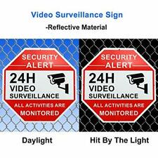 4pcs Aluminum Video Surveillance CCTV Security Camera Video Warning Sign CA Ship