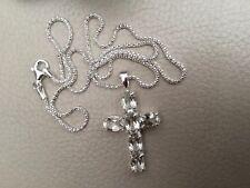 "Large White Quartz Sterling Silver Crucifix/Cross 18"" Diamond cut Popcorn Chain"