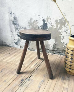 Vintage 1940's French Charlotte Perriand Inspired Tripod Stool