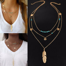 Women Boho 3 Layers Turquoise Pendant Necklace Feather Jewellery Beads Chain Pro