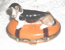 GR Limoges Hand Painted Basset Hound Dog Sitting on Oval Suitcase Trinket Box