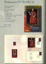 ITALIA FOLDER UFFICIALE F. PETRARCA 2004 TESSERA CARTOLINA BUSTA FRANCOBOLLO