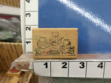bear family picnic basket cake party rubber stamps 33u