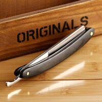 Men Folding Straight Edge Steel Barber Razor Shaving Knife Wood Handle <div alig
