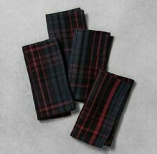 Hearth and Hand Plaid Napkins Set of 4 NAVY RED BLACK NEW