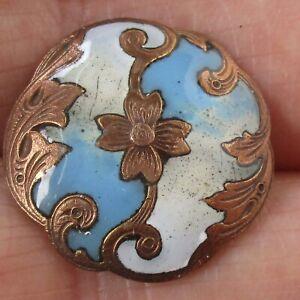 """7/8"""" Antique Champlevé Enamel Copper Button"""