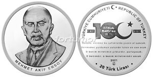 Turkey 2021, NATIONAL ANTHEM, SILVER Coin, 925Ag 100th Anniversary of Acceptance