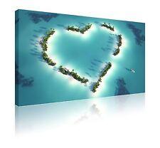 """20 """"X 30"""" BELLISSIMO color foglia di tè a forma di cuore isole CANVAS Wall Art Picture Gratuito P & P"""