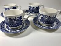 Churchill Blue Willow England China teacups and saucers Lot of (4)