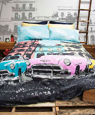 Retro Home Vintage Havana Cars Printed Double Bed Quilt Cover Set New