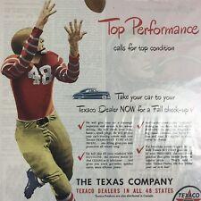 Texaco Company Gasoline Football Magazine Print Ad Vintage Fuel Car Automotive
