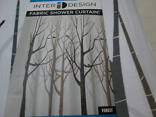 New Inter Design ID FOREST Shower Curtain ~ Birds, Trees ~ Brown, Grey, Black