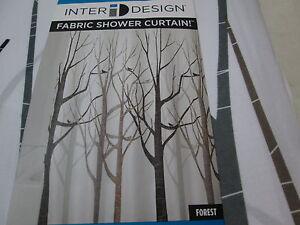 New Inter Design ID FOREST Shower Curtain ~ Birds, Trees ~ Brown, Grey, Black