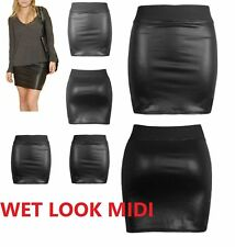 NEW WOMENS BLACK PVC WET LEATHER LOOK MINI PENCIL BODYCON SKIRT SIZE 6-22*wetsw