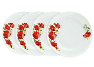 Set of 4 Porcelain Dessert Plates Dobrush,Belarus, Red Poppies Flowers, 20 CM