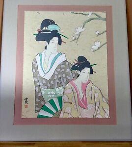 Geisha art print fabric Japanese geisha furoshiki fabric ukiyo e geisha cotton fabric Japanese traditional tattoo design maiko doll art