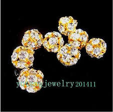 20pcs 6mm Pretty gold plated Bayberry ball rhinestone crystal spacer bead DS42