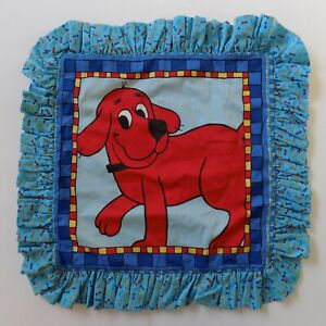 Clifford The Big Red Dog Children's Pillow Sham Vintage Ruffled Blue Red