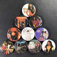 """Rick James 1"""" Button Pin Set Icon Soul Rock Pop Funk Super Freak Prince Eddie"""