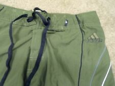 ADIDAS RELAXED SZ-32 FRONT CLOSER DRAW STRING OLIVE SHORTS MEAS-32X10  #X59