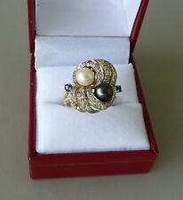 14K YELLOW GOLD PEARL DIAMOND & SAPPHIRE RING