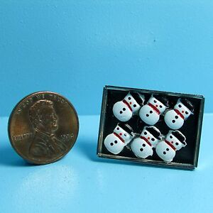 Dollhouse Miniature Christmas Snowman Cookies on Cookie Sheet Tray IM65281