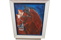 "Oil On Canvas Framed Painting Of Saddled Horse Head 21""W x 25""L Hanging"