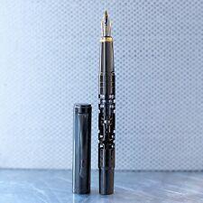 Luoshi Labyrinth Gunmetal Grey Fountain Pen Two Tone Gold Plated Steel Nib